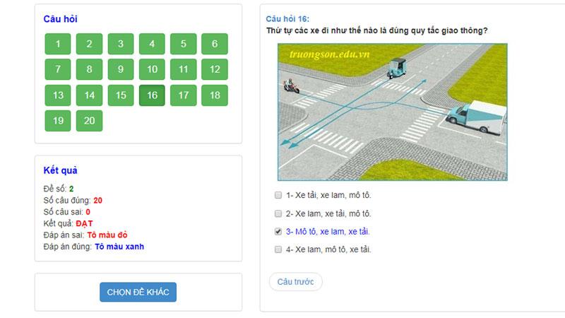thi bằng lái xe máy online