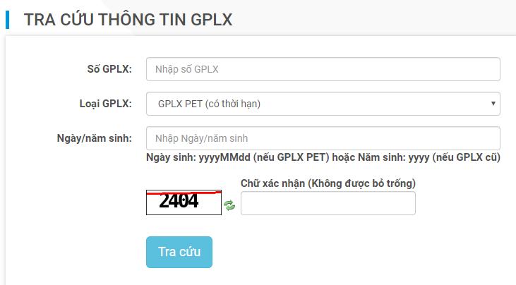 Tra cứu GPLX